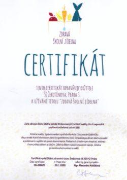 certifikát zdravá ŠJ 250x355 - školní jídelna