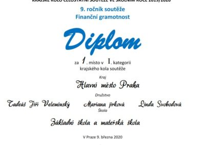 fg diplom 2020 I 400x284 - 1. místo v celostátním kole soutěže ve finanční gramotnosti