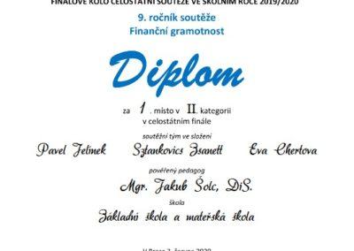 fg diplom 2020 II stat 400x284 - 1. místo v celostátním kole soutěže ve finanční gramotnosti